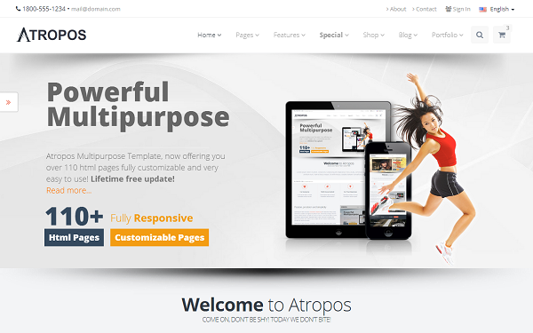 Шаблон: Atropos - Responsive Website Template